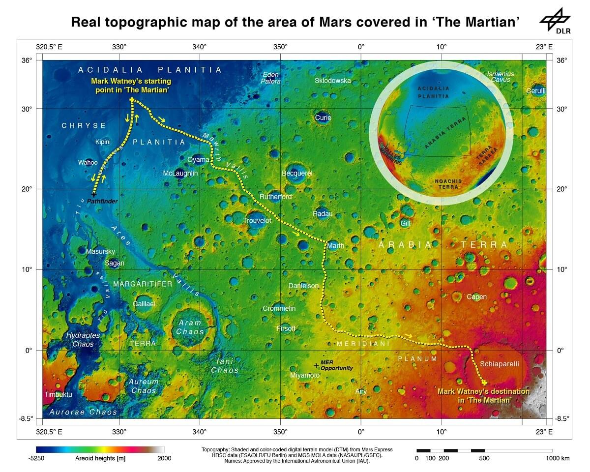 Bản đồ địa hình thực sự của khu vực Sao Hỏa trong The Martian reviewsachonly